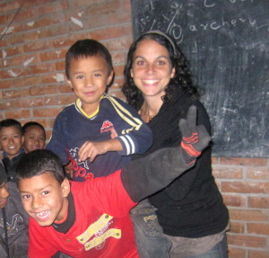 Shannon with schoolchildren at Asphodel School, a school for vulnerable children, Kathmandu, Nepal